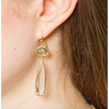 Crystal and Grey Labdorite Earring
