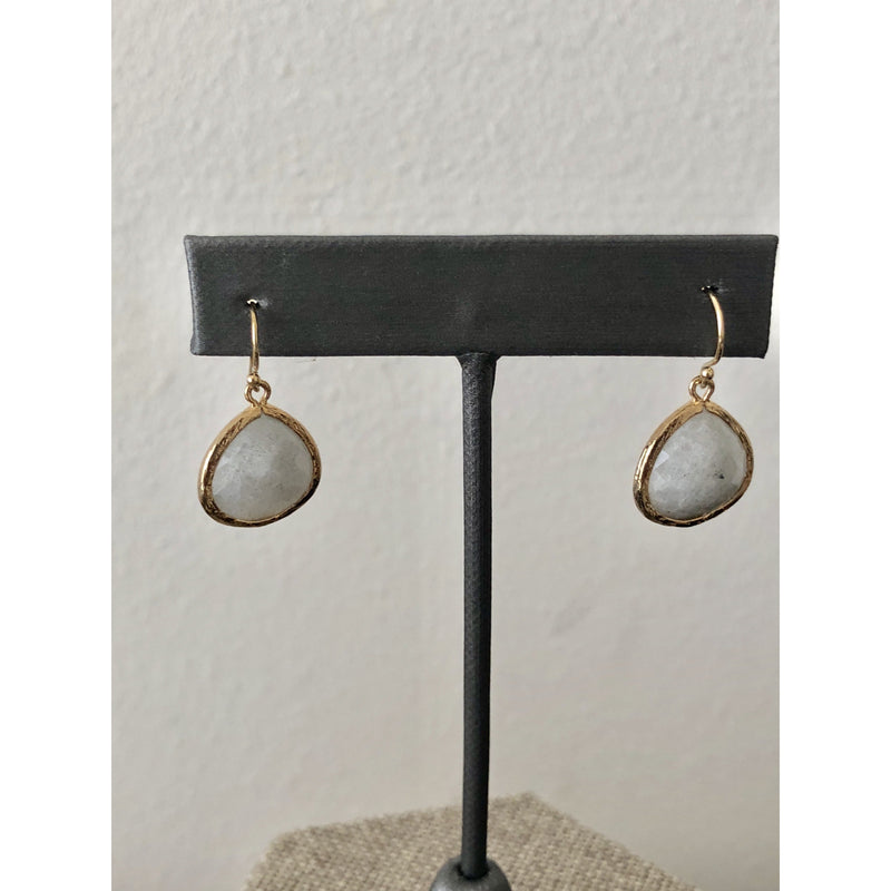Sample Sale! Grey Stone Earring with Hammered Border