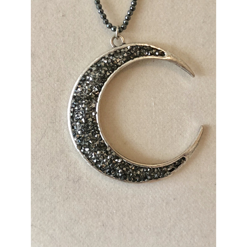 Sample Sale! Gunmetal Crystal Crescent Moon Necklace