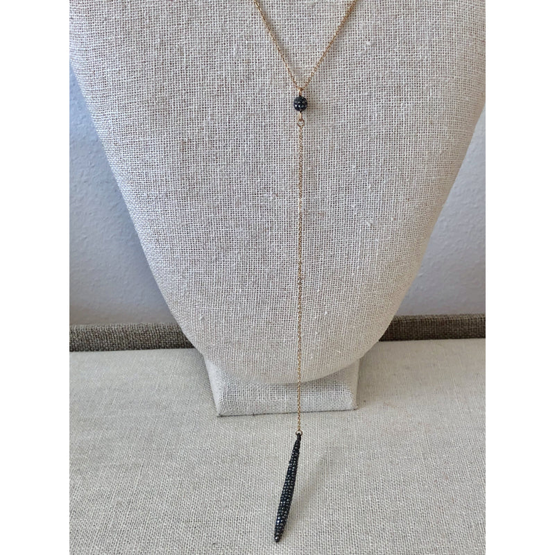 Sample Sale! Gunmetal Crystal Y Necklace
