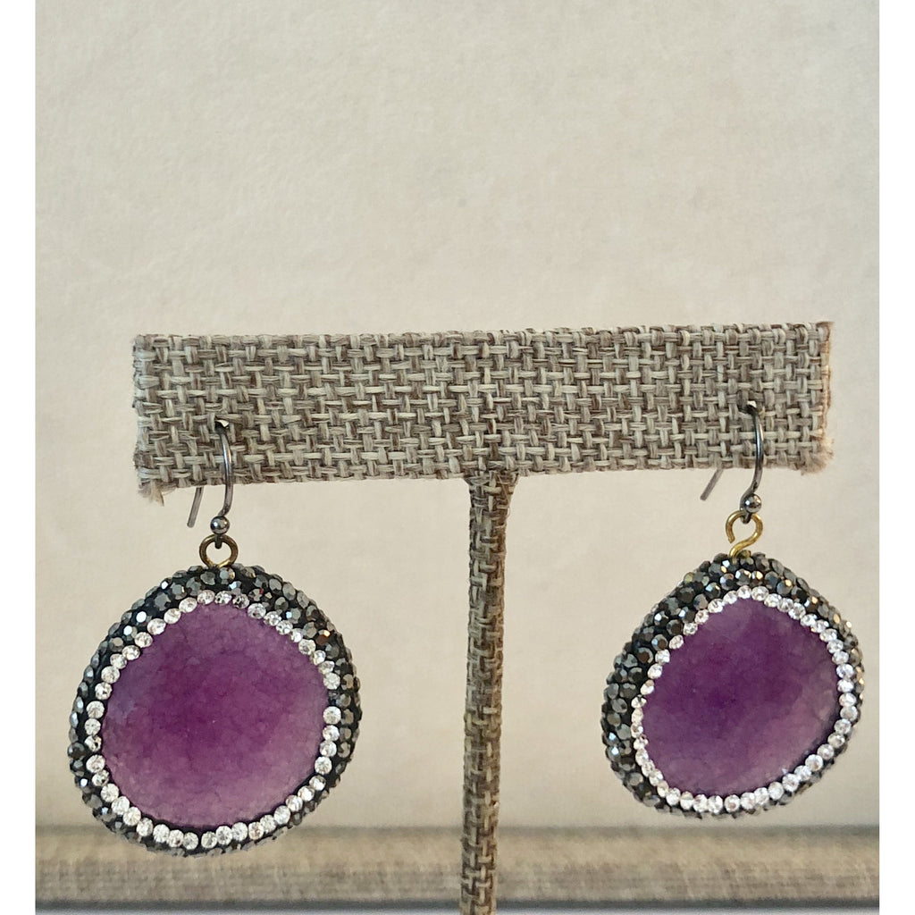 Sample Sale! Violet Gunmetal Crystal Earring