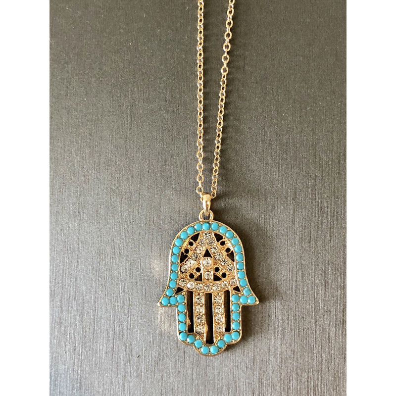 Sample Sale! Crystal and Turquoise Hamsa