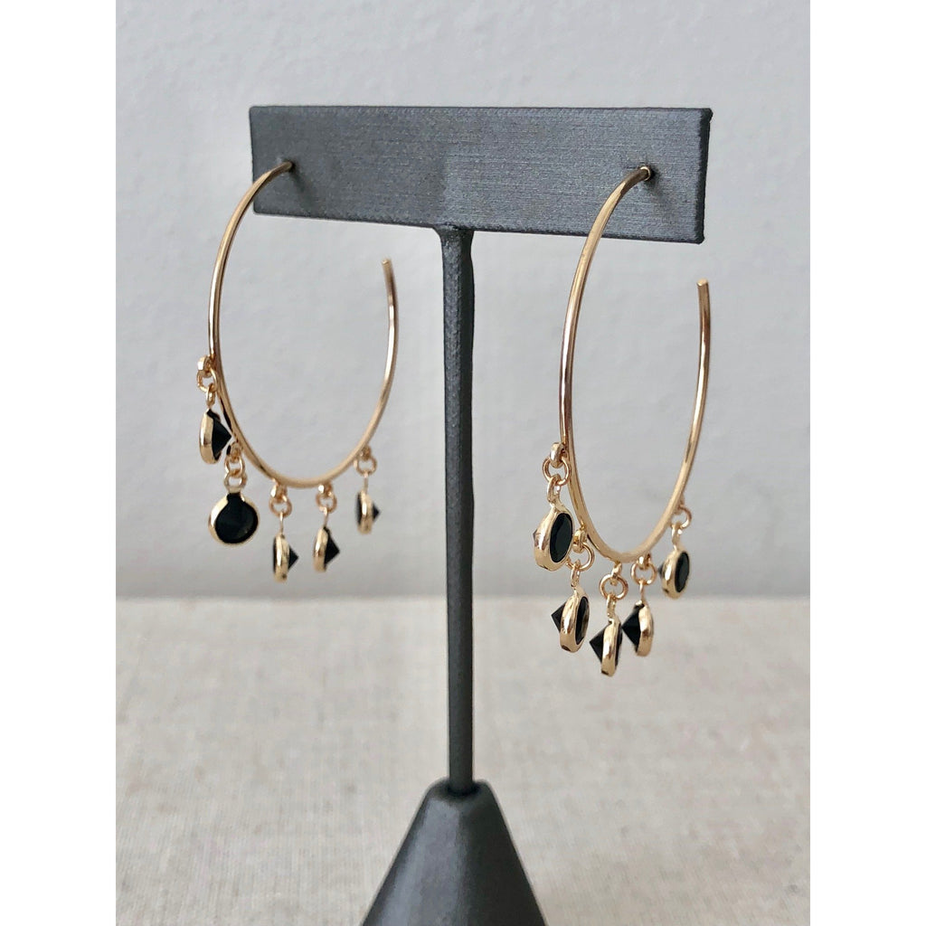Sample Sale! Black Crystal Dangle Hoops