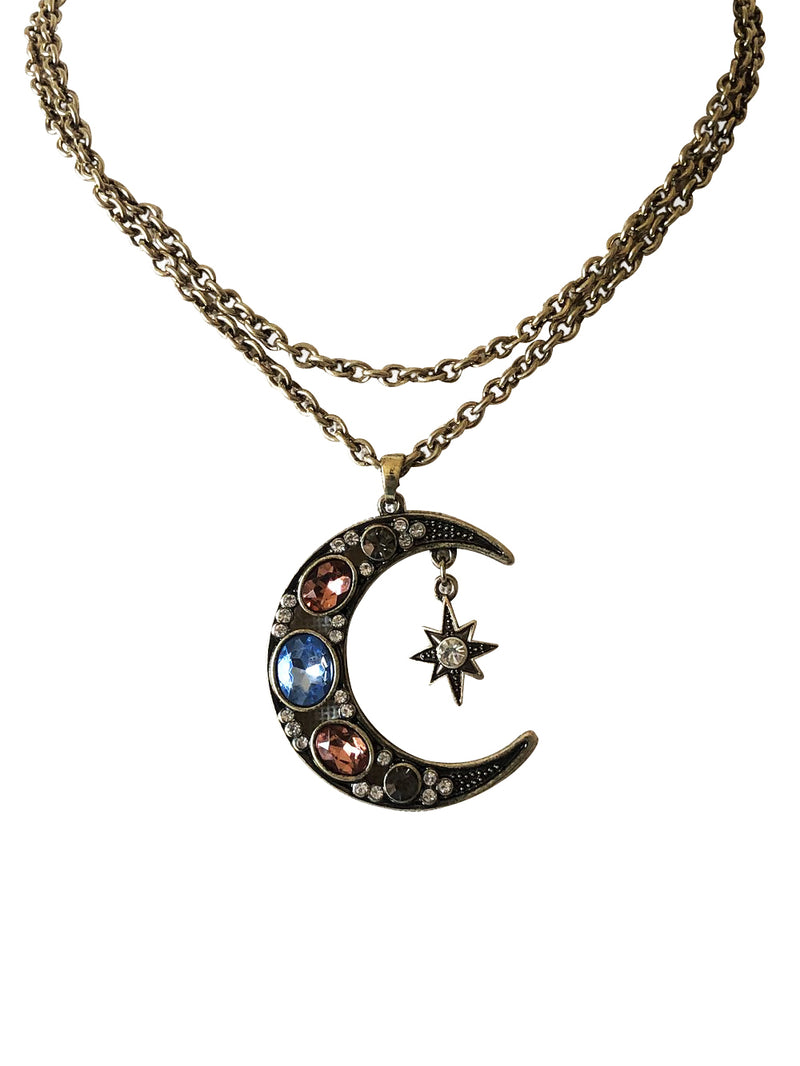 The Fast Flash! Jewelled Crescent Moon Necklace