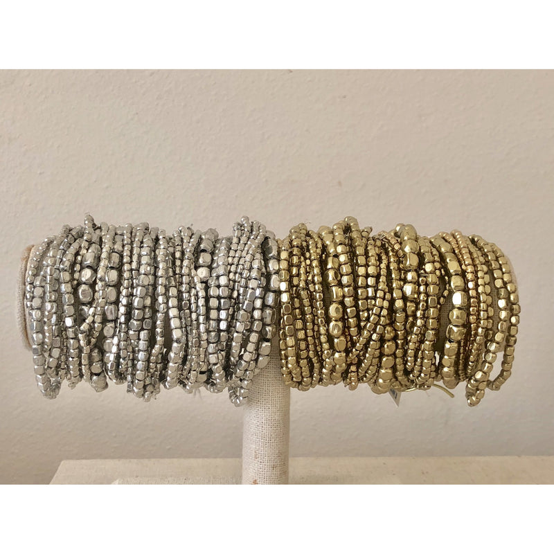 Beaded Nugget Stack-Silver
