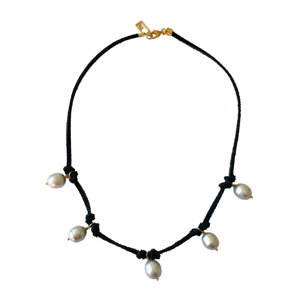 Pearl and Suede Choker