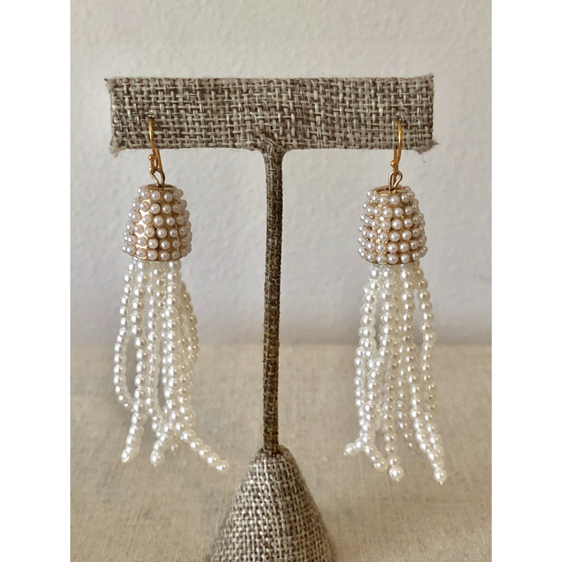 Sample Sale! Beaded Fringe Earring-Pearl