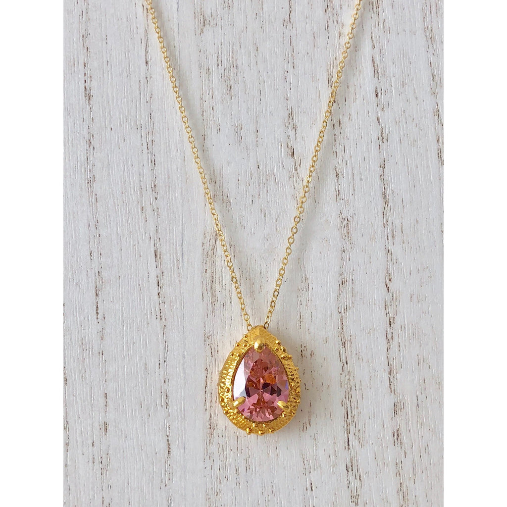 Sample Sale!  Pink CZ stone Drop Necklace