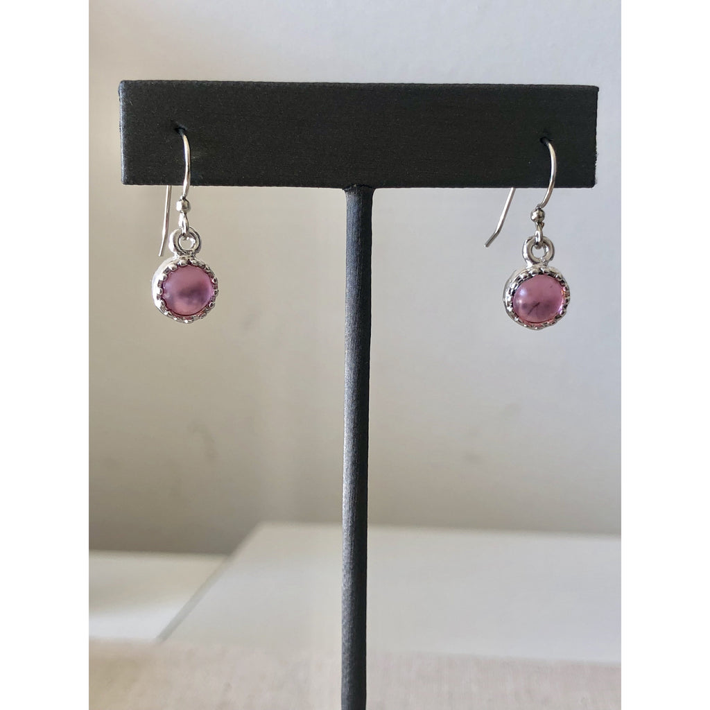 Sample Sale! Pink/Silver Cabochon Drop Earring