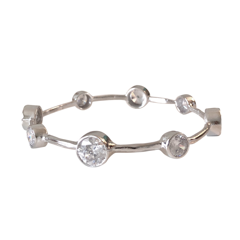 Hammered Rhodium Vermeil CZ Bangle