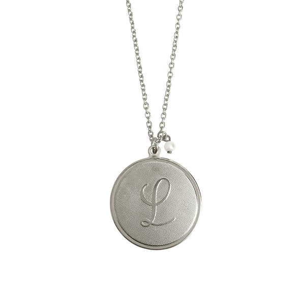 Large Signature Initial Pendant with Pearl Drop