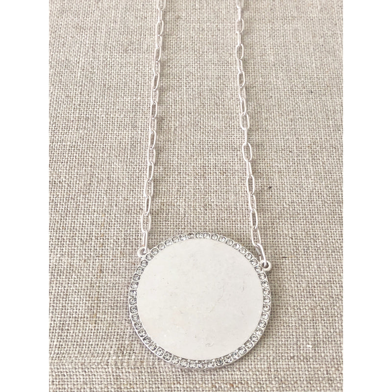 Sample Sale! Silver Crystal Disk Necklace