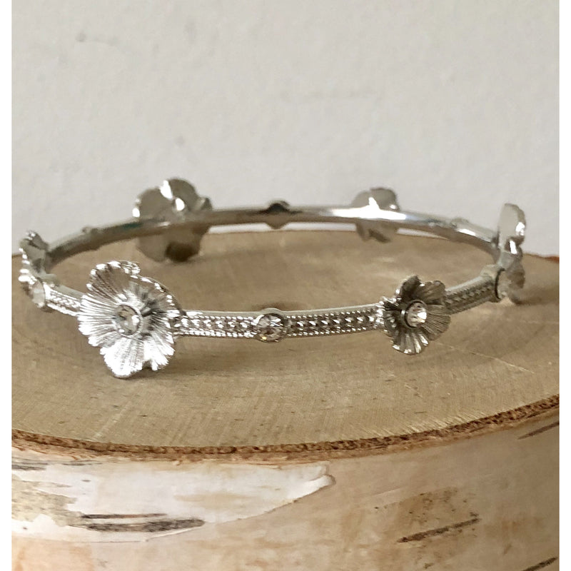 Sample Sale! Silver Crystal Flower Bangle