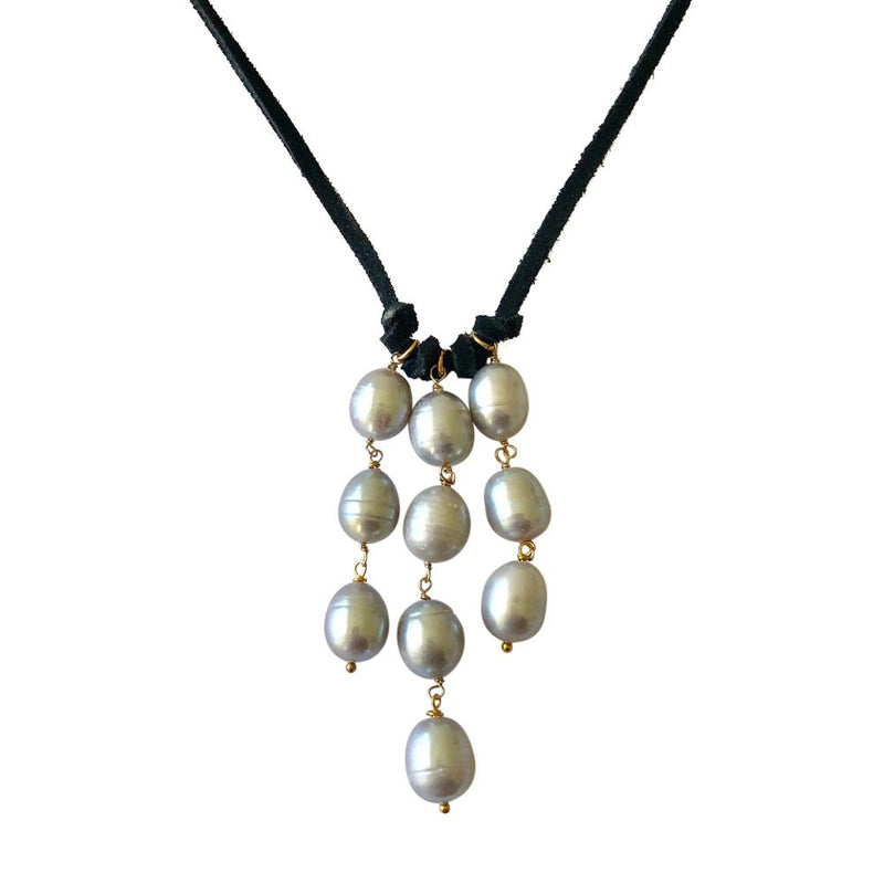 Leather Cascade Necklace-Grey Pearl