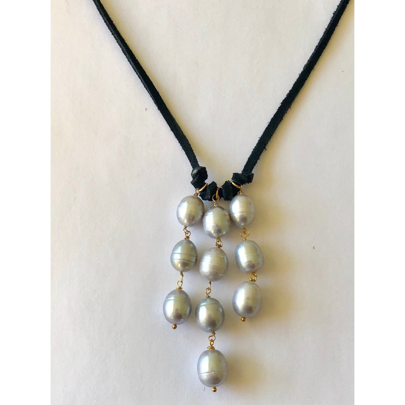 Silver Pearl and Leather Cascade Necklace