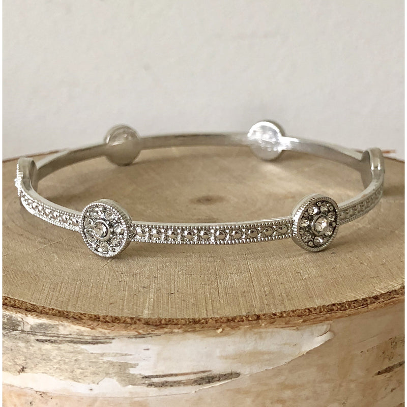 Sample Sale! Silver Crystal Bezel Bangle