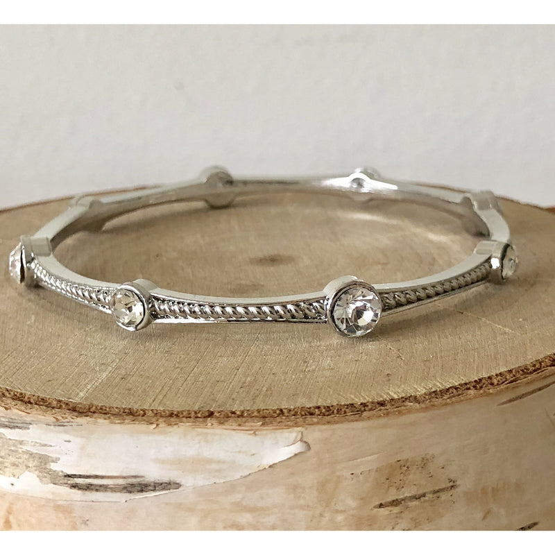 Sample Sale! Silver Crystal Twist Bangle