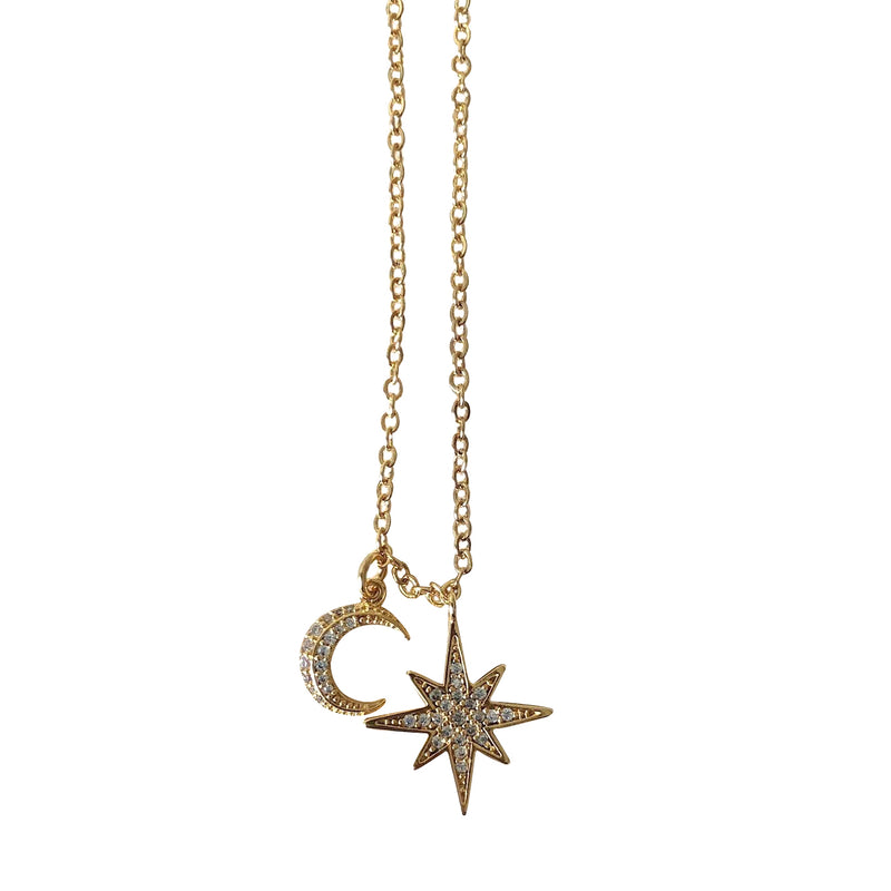 8 Point Star and Moon Necklace