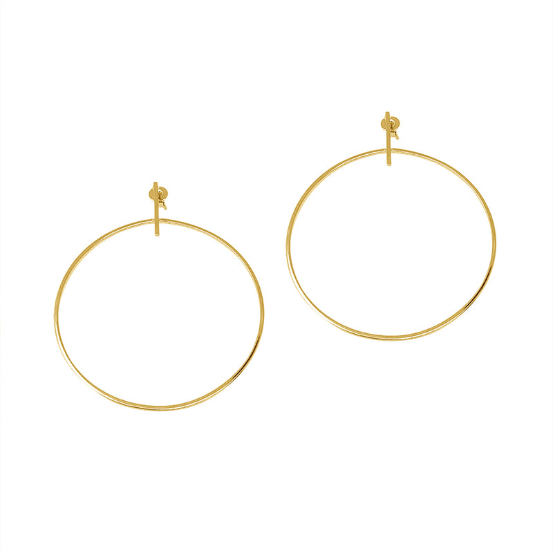 Bar Stud Hoop Earring
