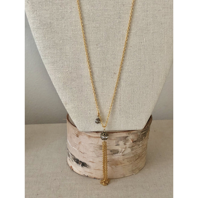 Sample Sale!  Gunmetal and Gold Tassel Necklace-36""