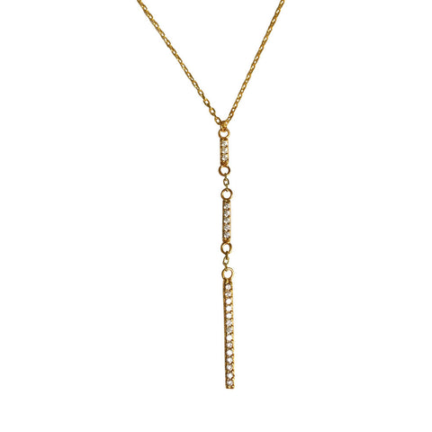 Bar None Triple Line Necklace