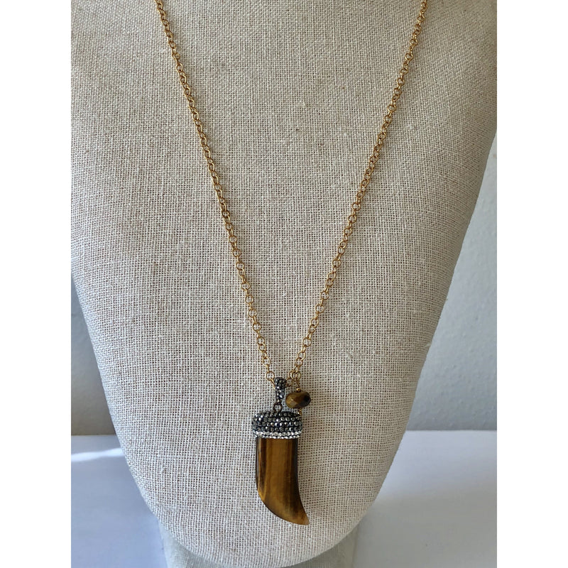 Sample Sale! Tiger Eye Shark Tooth Necklace