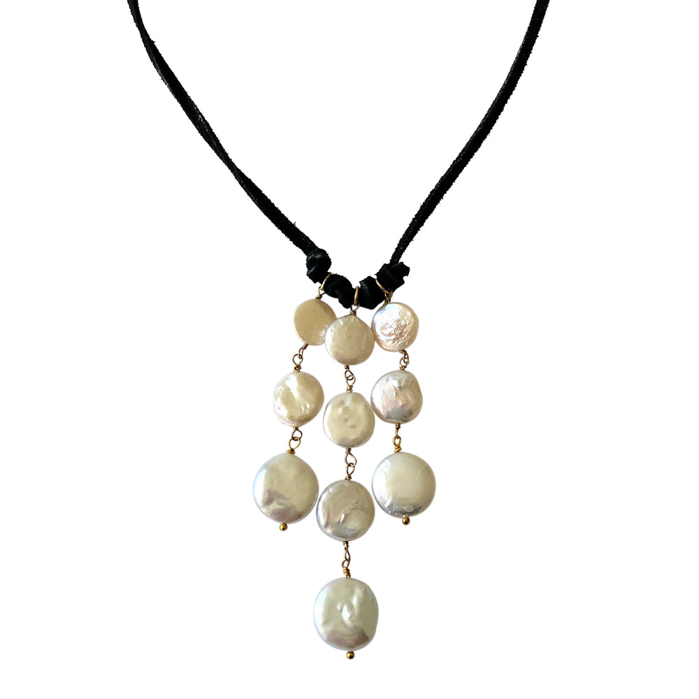 White Coin Pearl and Suede Cascade Necklace