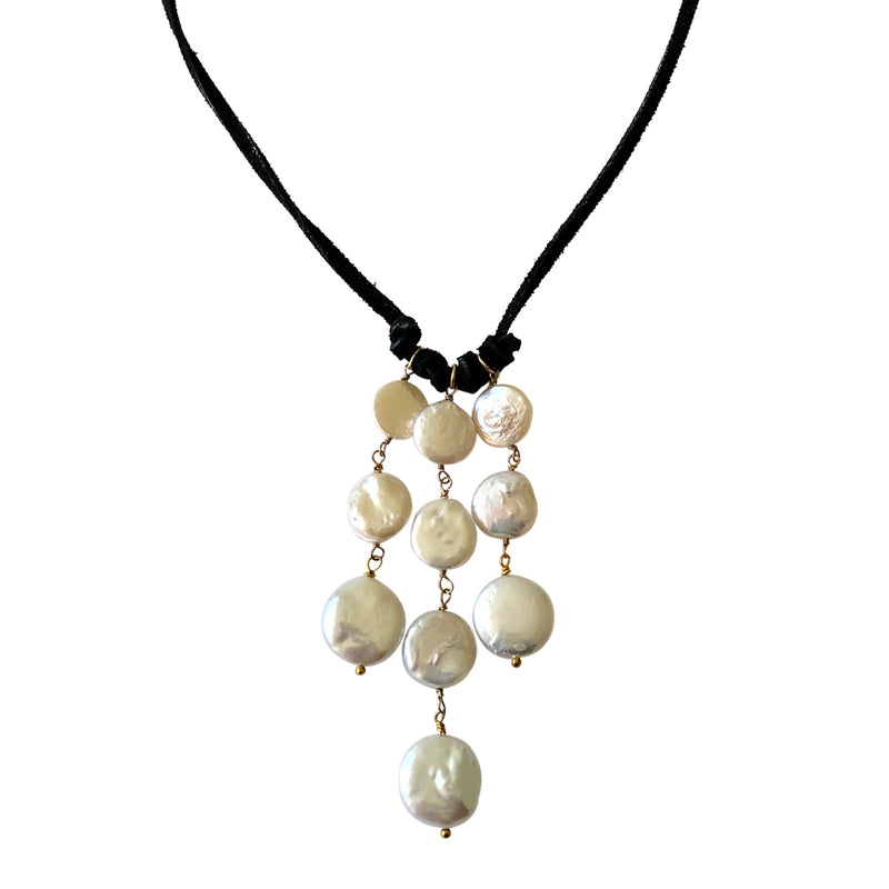 Leather Cascade Necklace-White Coin Pearl