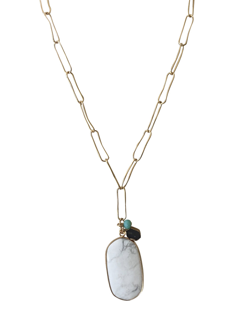Clip Link Chain with White Agate Drop