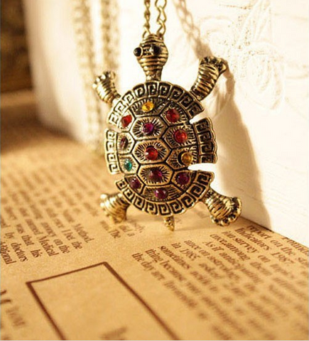 Vintage Bohemian Multicolor Crystal Turtle Pendant & Necklace - Fully Loaded Essentials