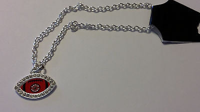 LOUISIANA LAFAYETTE RAGIN CAJUNS CRYSTAL FOOTBALL STYLE NECKLACE NEW MADE IN USA