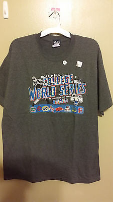 2012 COLLEGE WORLD SERIES  BASEBALL T SHIRT SIZE XL NWT ADULT HISTORY CHAMPIONS