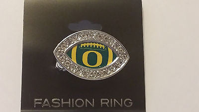 OREGON DUCKS CRYSTAL FOOTBALL STYLE RING NEW MADE IN USA