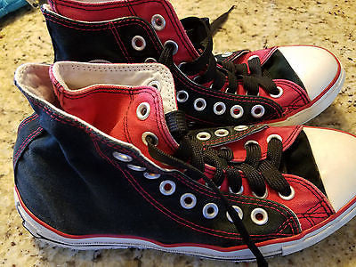 CONVERSE CHUCK TAYLOR ALL STAR HIGH TOP SNEAKER ADULT SIZE WMS 9 MNS 7 RED/BLACK