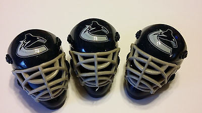 LOT OF 3 VANCOUVER CANUCKS POCKET SIZED GOALIE MASK HELMETS FRANKLIN BULK