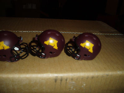 LOT OF 3 MINNESOTA GOLDEN GOPHERS  POCKET PRO HELMETS  REVOLUTION BULK