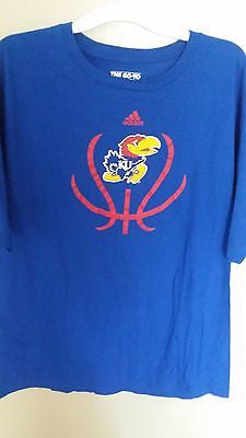 KANSAS JAYHAWKS ADIDAS BASKETBALL T SHIRT SIZE 2XL ADULT