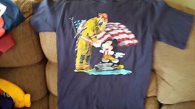 MICKEY MOUSE THANKING FIREMAN T SHIRT SIZE SMALL ADULT WALT DISNEY
