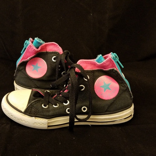 CONVERSE CHUCK TAYLOR BLACK BACK ZIP HIGH TOP SNEAKER YOUTH SIZE 13