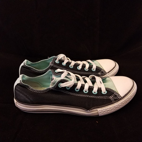 CONVERSE CHUCK TAYLOR BLACK/AQUA LOW TOP  SNEAKER ADULT SIZE WN 7 MN 5