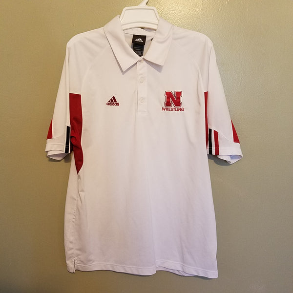 NEBRASKA HUSKERS ADIDAS WRESTLING POLO SHIRT SIZE MEDIUM ADULT CLIMACOOL