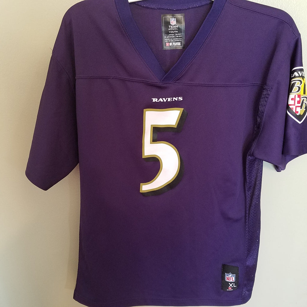 BALTIMORE RAVENS JOE FLACCO FOOTBALL JERSEY SIZE XL 18-20 YOUTH
