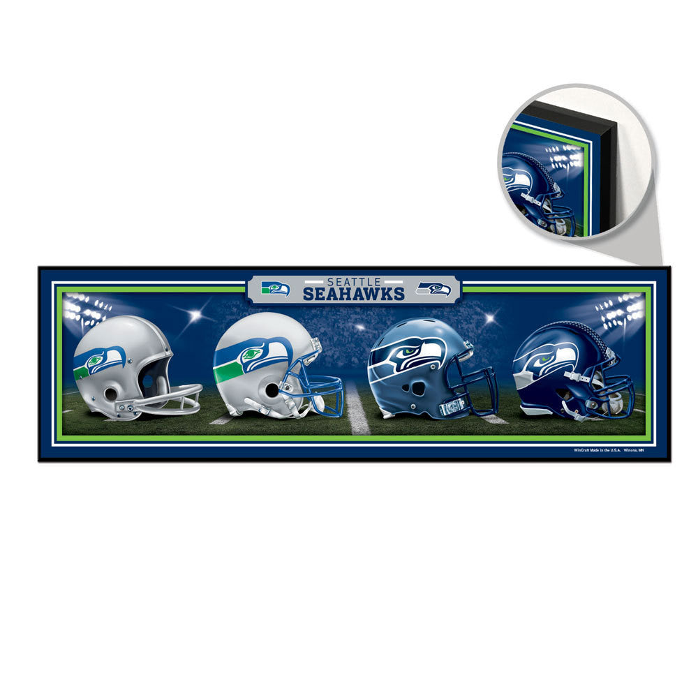 "SEATTLE SEAHAWKS Wood Sign 9"" x 30"" HardBoard Helmet History"