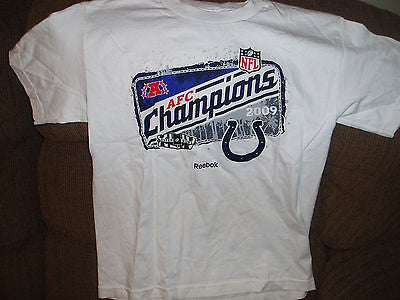 INDIANAPOLIS COLTS 2009 AFC CHAMPIONS FOOTBALL T SHIRT SIZE MED YOUTH REEBOK