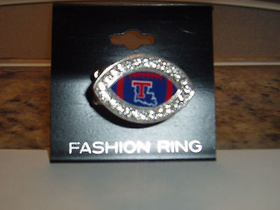 LOUISIANA TECH BULLDOGS CRYSTAL FOOTBALL STYLE RING NEW MADE IN USA