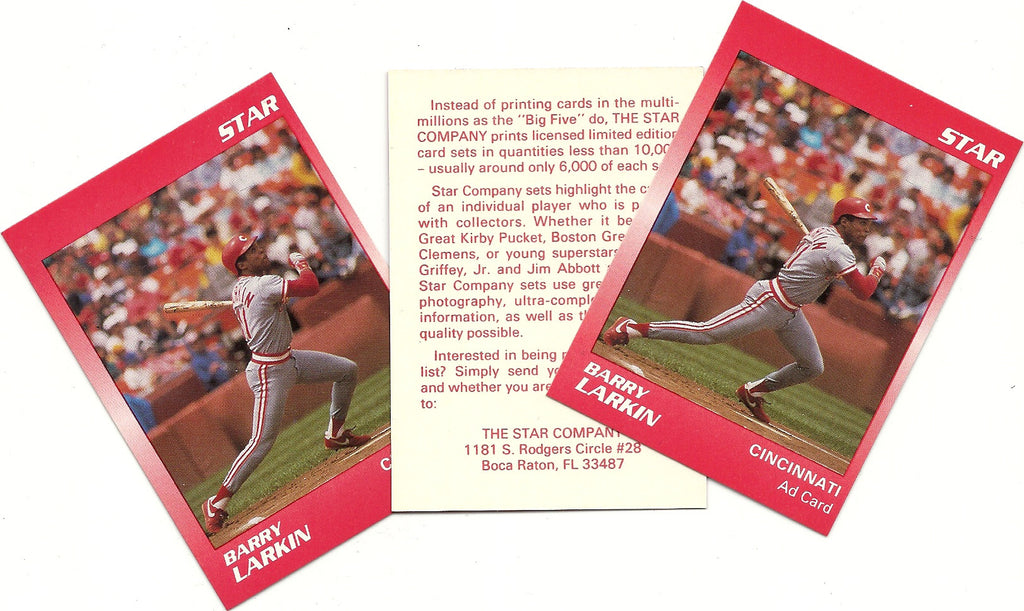 CINCINNATI REDS BARRY LARKIN STAR PROMO LOT OF 50