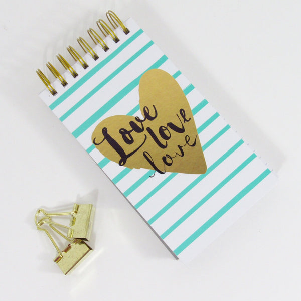 Love Love Love gold heart spiral notepad