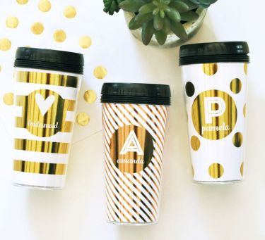 Personalized Gold Foil Travel Coffee Mug