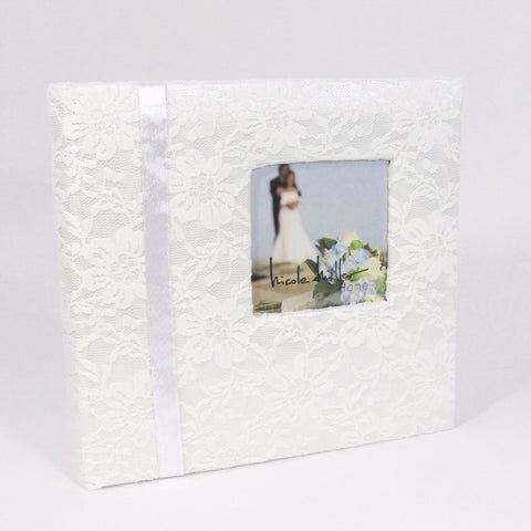 Designer Wedding Album wrapped in lace fabric