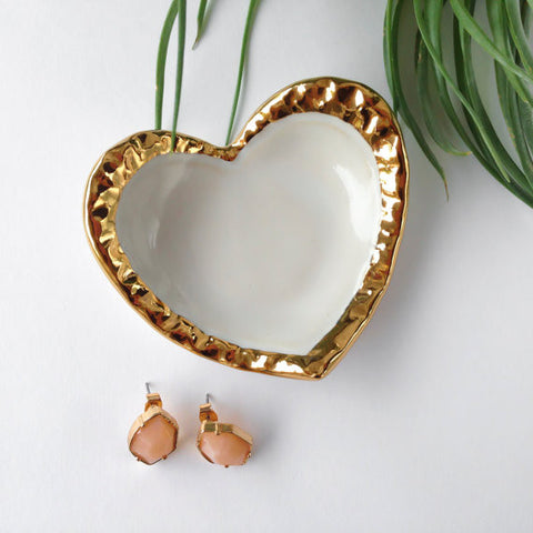 White Ceramic Heart 22K Gold Edge Jewelry Dish